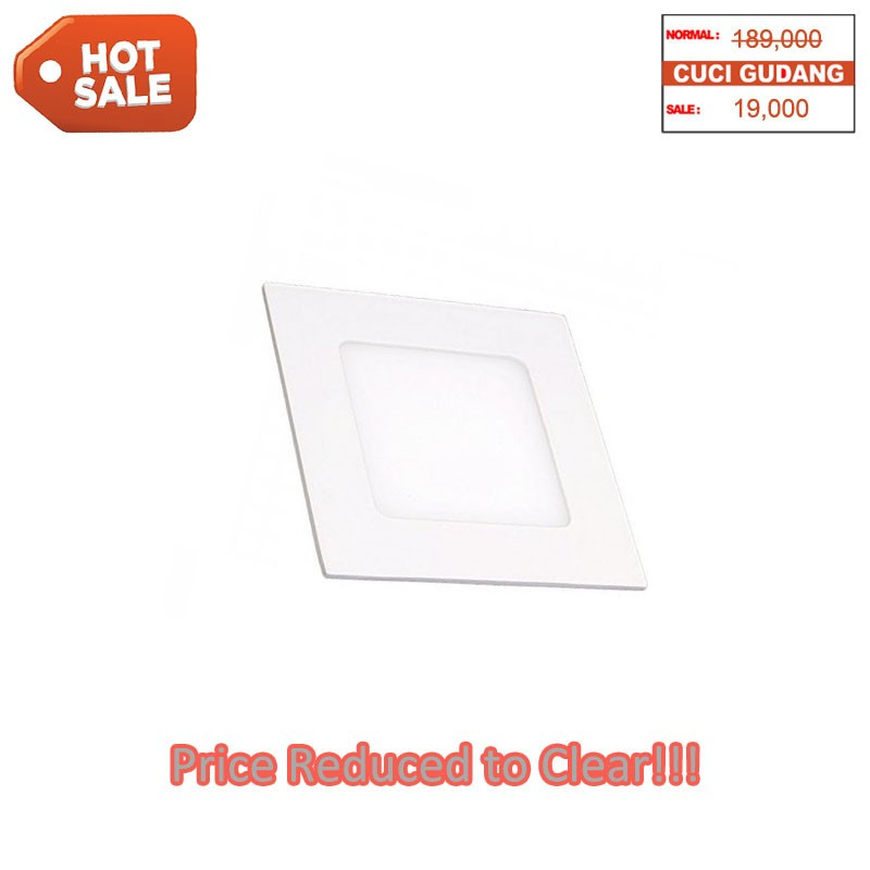 Panel Slim Downlight 6W Square Warm White - Hot Sale