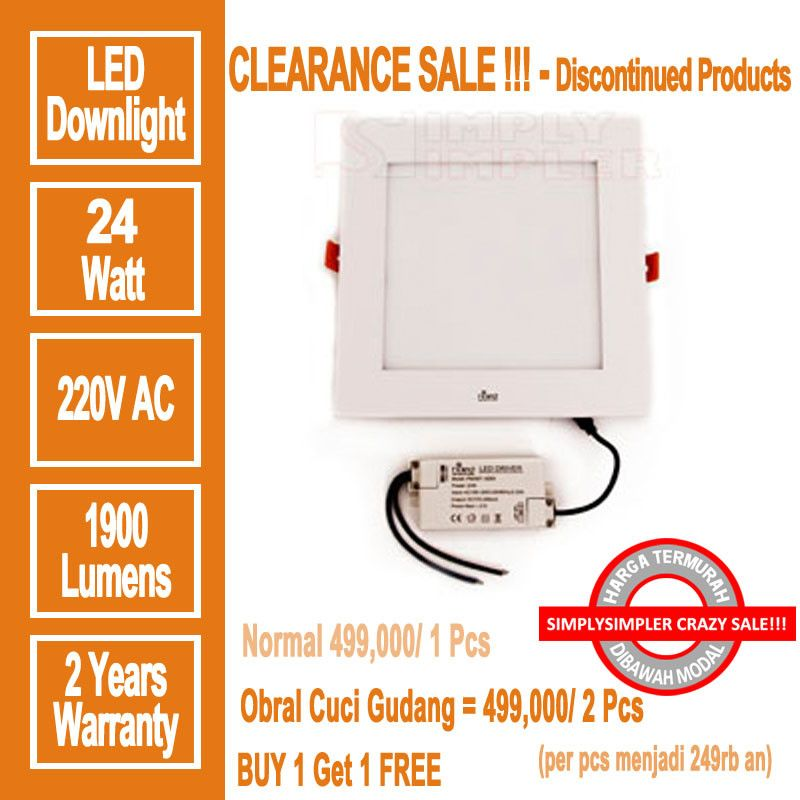 HILED Square Downlight 24W - Promo Buy 1 Get 2