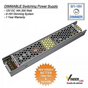 Vinder 0-10 Dimmable Power Supply 12V DC 16A 200Watt - New Version