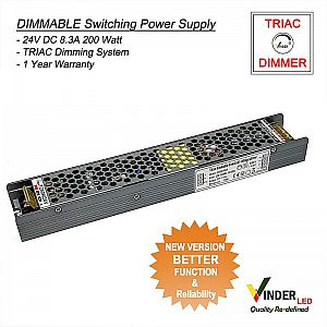 Vinder TRIAC Dimmable Power Supply 24V DC 8A 200Watt - New Version