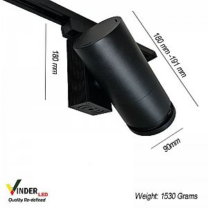 Vinder Track Light Adjustable Beam Angle 40W AC220V - Black Body